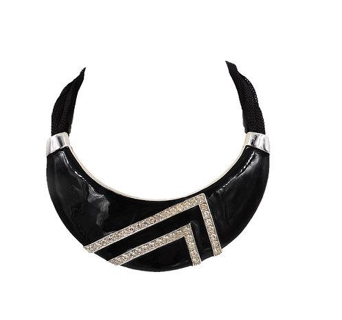 1980s Alexis Kirk Modernist Black Enamel & Rhinestone Collar Necklace