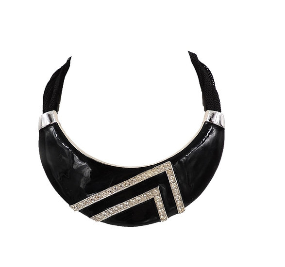1980s Alexis Kirk Modernist Black Enamel & Rhinestone Collar Necklace