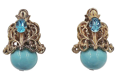 1960s Napier Book Piece Faux-Turquoise Rhinestone Earrings