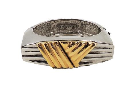 1980s Alexis Kirk Modernist Silvertone Goldtone V Cuff Bracelet