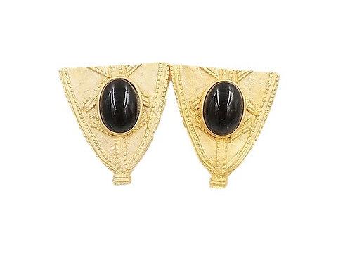 1980s Alexis Kirk Faux-Onyx Cabochon Earrings- Never Worn