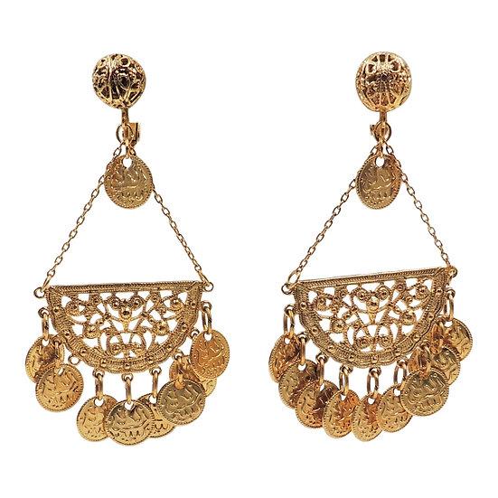 "1970s Napier Goldtone ""Coins"" Chandelier Earrings"