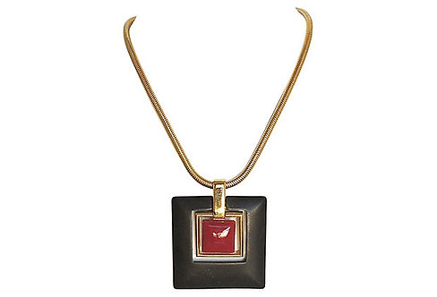 1970s Trifari Modernist Lucite Pendant Necklace