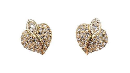 1990s Swarovski Goldtone Rhinestone Heart Earrings