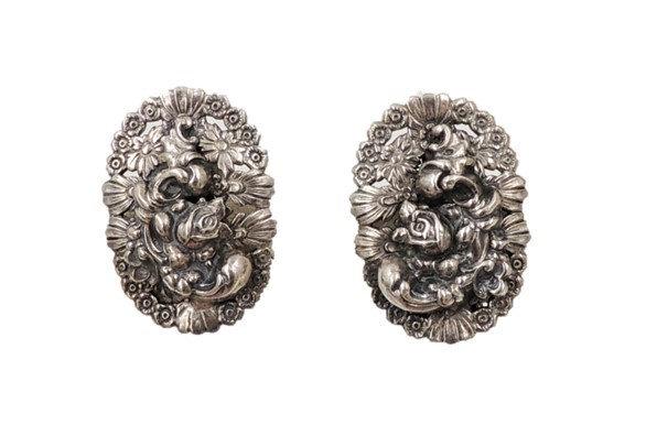 1950s Napier Silvertone Floral Earrings