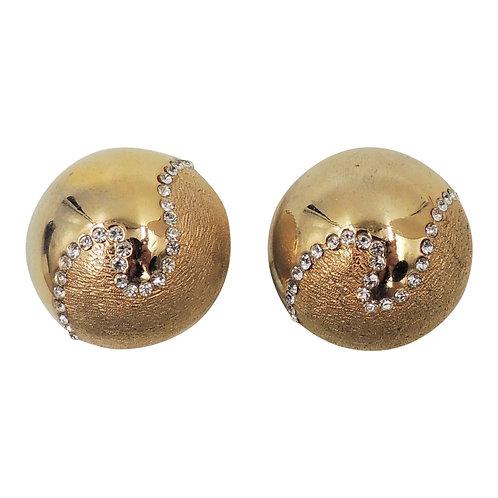 Bijoux Cascio Domed Goldtone & Rhinestone Earrings