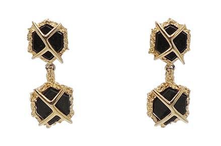 1960s Panetta Modernist Faux-Onyx Rhinestone Drop Earrings