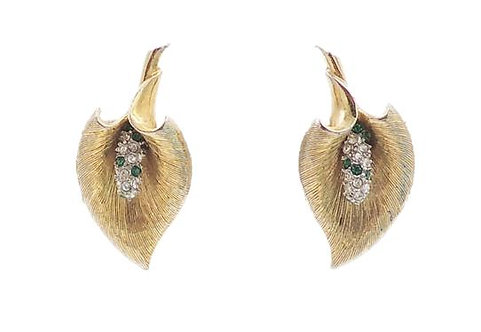 Late 1950s Boucher Calla Lilly Rhinestone Earrings