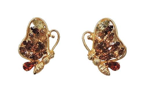 1950s Napier Book Piece Faux-Citrine & Faux-Topaz Butterfly Earrings