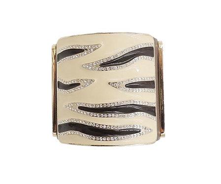 Valentino Leather & Enamel Zebra Stripe Rhinestone Cuff Bracelet