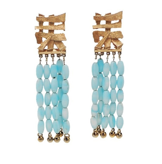 1950s Napier Asian Character Goldtone & Faux-Turquoise Beaded Earrings