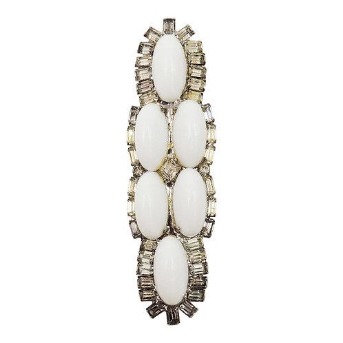 1970s DeLillo Rhodium Plated White Cabochon & Clear Rhinestone Dress Clip