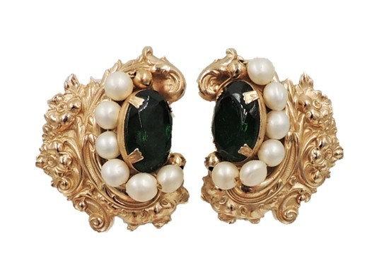 1950s Napier Baroque Style Goldtone Faux-Emerald & Faux-Pearl Earrings