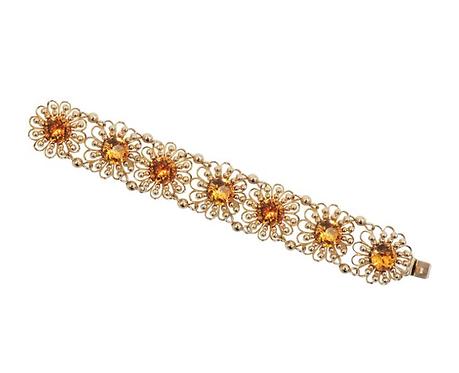 1950s Signed Napier Book Piece Goldtone Faux-Citrine Flower Link Bracelet