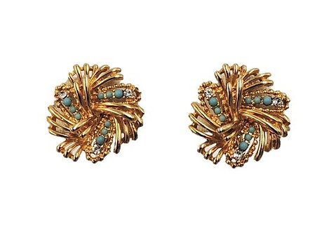 1960s Boucher Cabochon Faux-Turquoise & Clear Rhinestone Clip Earrings