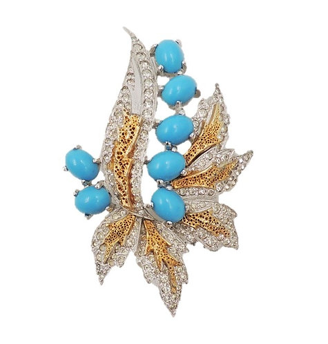1960s Polcini Rhodium Plate & Goldtone Cabochon Faux-Turquoise Brooch