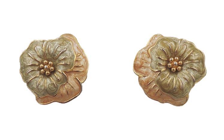 Monet Enamel Pansy Flower Earrings, 1985