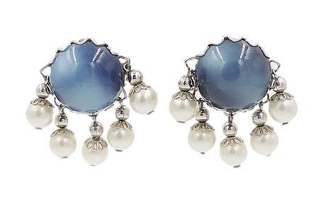 1950s Napier Blue Moonglow Faux-Pearl Earrings