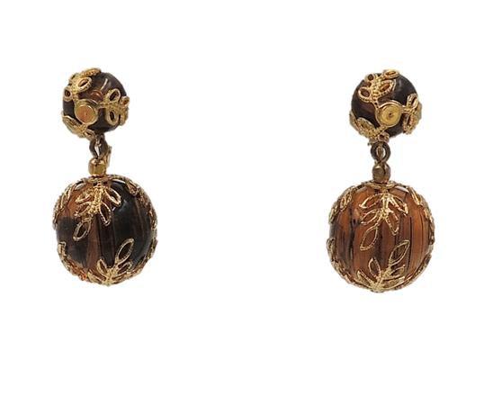 Early 1950s Trifari Faux-Tortoise Drop Earrings
