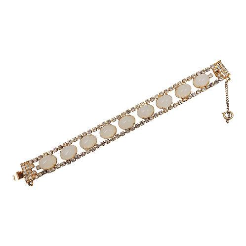 1950s Kramer Cabochon Faux-Moonstone Bracelet