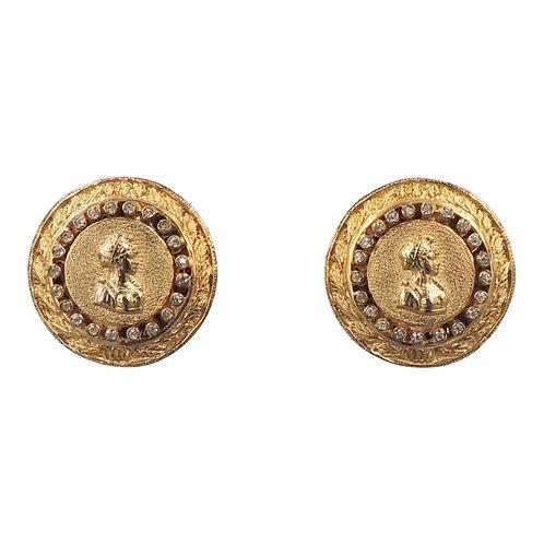 1950s Nettie Rosenstein Goldtone & Rhinestone Bust of a Lady Earrings