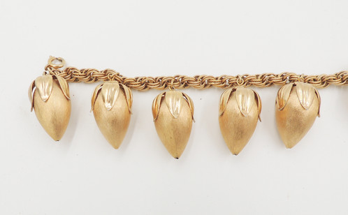 1960s Goldtone Textured Strawberries Charm Bracelet With Spring Ring Clasp Marked Napier On The Connector Including Top Leaves