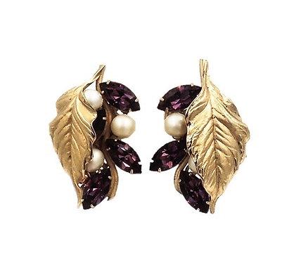 Napier Faux-Amethyst Leaf Earrings, 1953