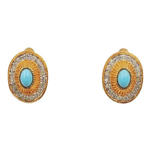 1950s Nettie Rosenstein Cabochon Faux-Turquoise & Clear Rhinestone Earrings