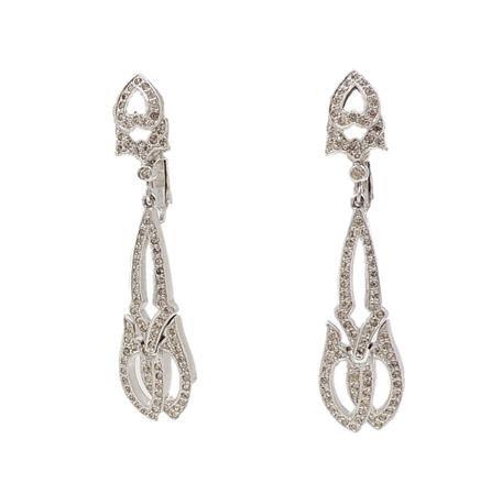 1960s Polcini Deco Style Rhinestone Earrings