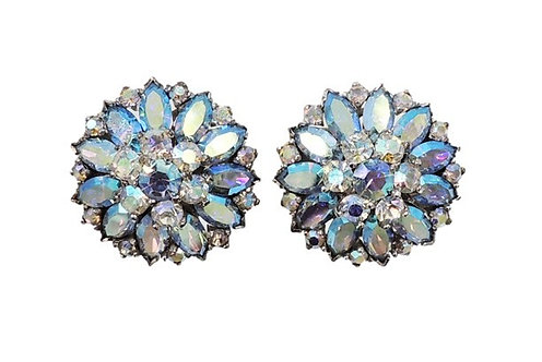 1960s Jomaz Rhodium Plated Blue Aurora Borealis Clip Earrings