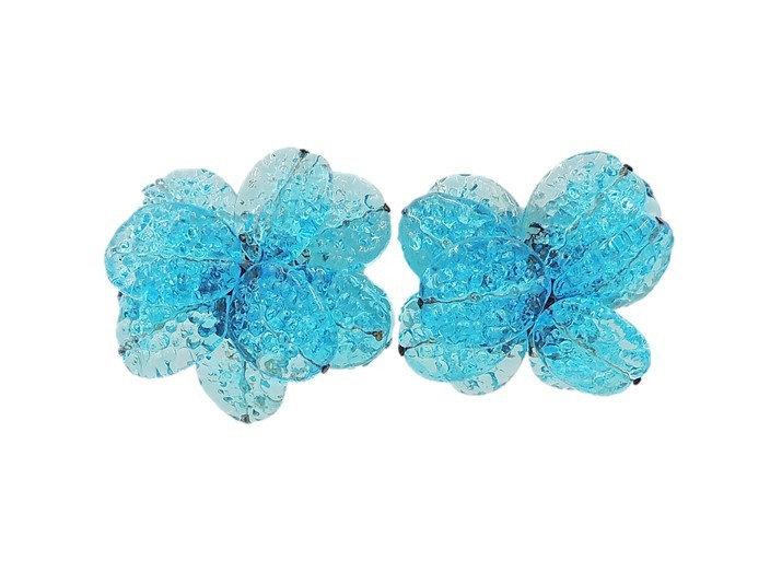 1960s Italian Blue Blown Glass Flower Earrings