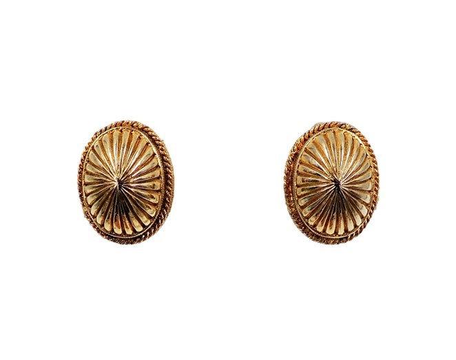 1950s Nettie Rosenstein Oval Domed Earrings