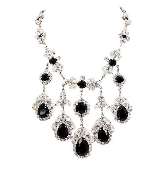 Marie Ferra Faux-Onyx & Clear Rhinestone Bib Necklace