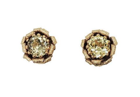 1950s Napier Book Piece Faux-Citrine Flower Clip Earrings