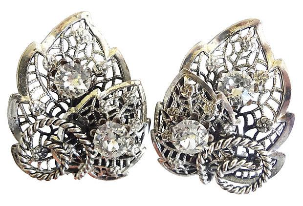 1950s Napier Foliate Rhinestone Earrings