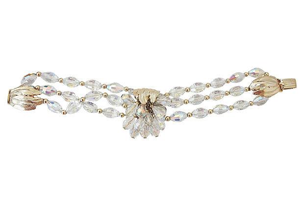 1960s Napier Aurora Borealis Beaded Book Piece Bracelet