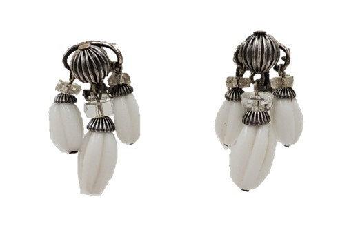 1950s Napier Silvertone White Resin Beaded Earrings