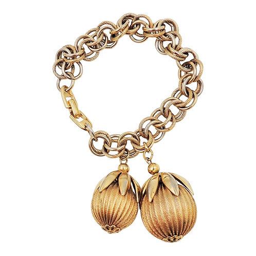 1950s Napier Goldtone Ball Charm Bracelet