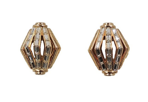 Alfred Philippe for Trifari Baguette Rhinestone Earrings, 1954