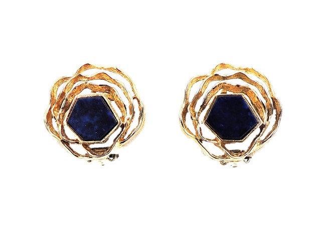 1960s Panetta Modernist Faux-Lapis Earrings