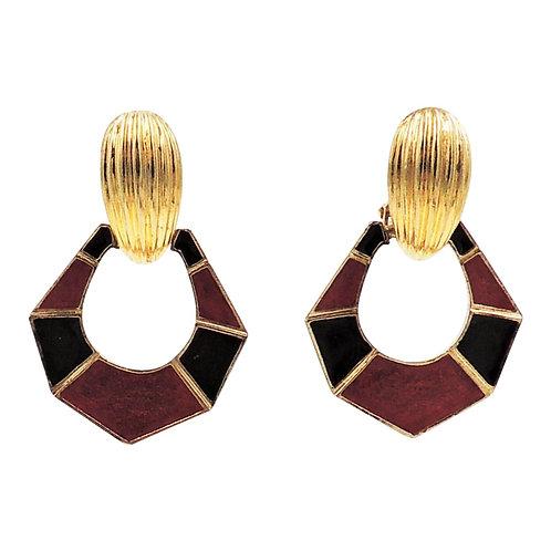1960s Jomaz Interchangeable Goldtone & Enamel Hoop Earrings
