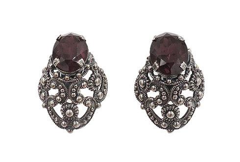 1950s Napier Faux-Amethyst Rhinestone Earrings