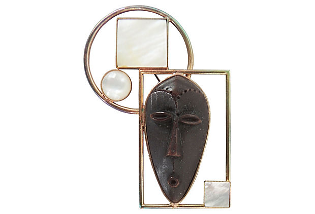 Philippe Ferrandis African Mask Pin