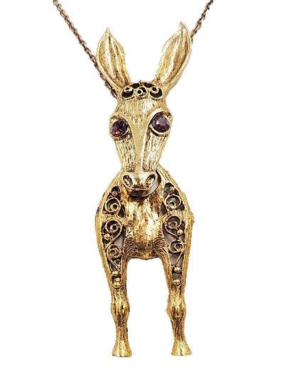 1960s D&E Donkey Pendant Necklace