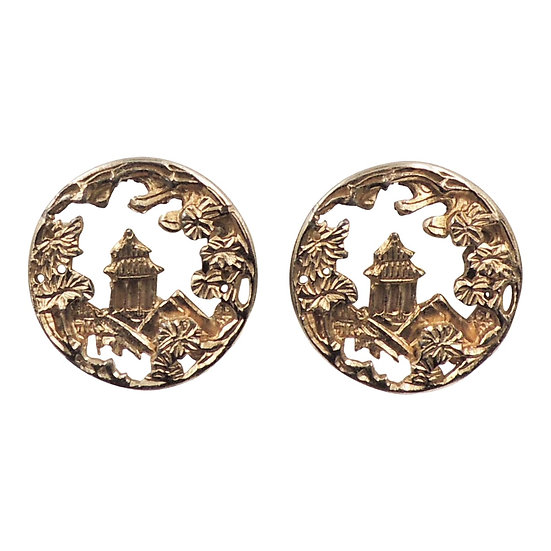1950s Napier Goldtone Round Pagoda Earrings