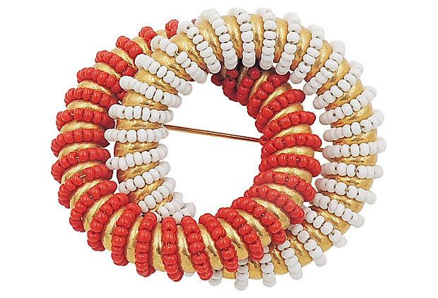 1970s DeLillo Red & White Beaded Pin
