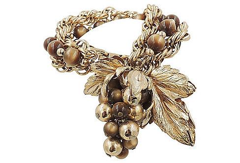 1950s Napier Goldtone Brown Moonglow Grape Charm Bracelet