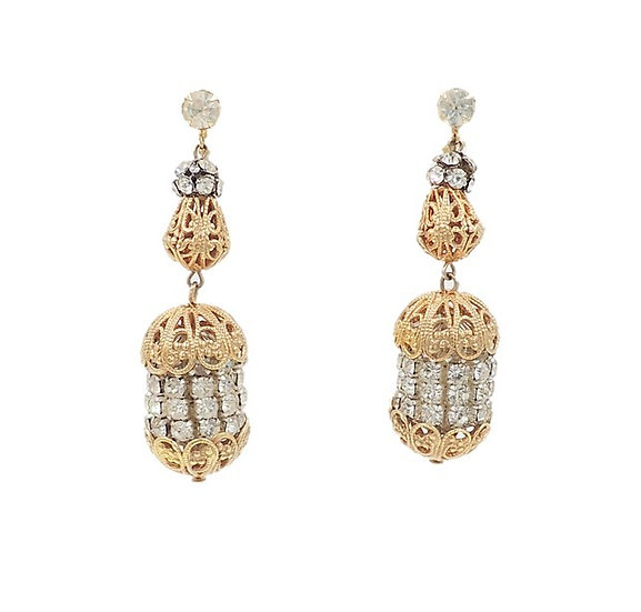 1960s Castlecliff Rhinestone Drop Earrings