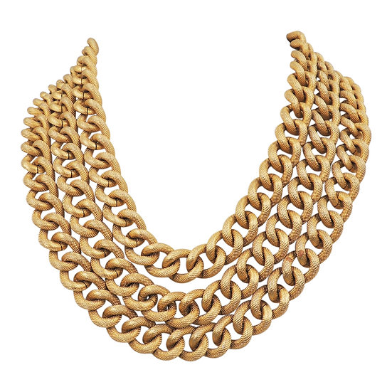 1980s Monet Goldtone Textured 3-Strand Necklace