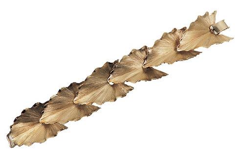 1960s Napier Book Piece Goldtone Leaves Bracelet